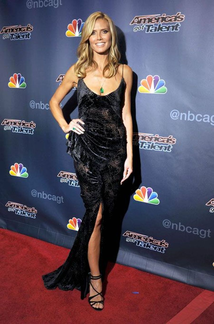 Le top Heidi Klum en Zac Posen, lors de la finale de l'émission America's Got Talent à New York, le 17 septembre 2014