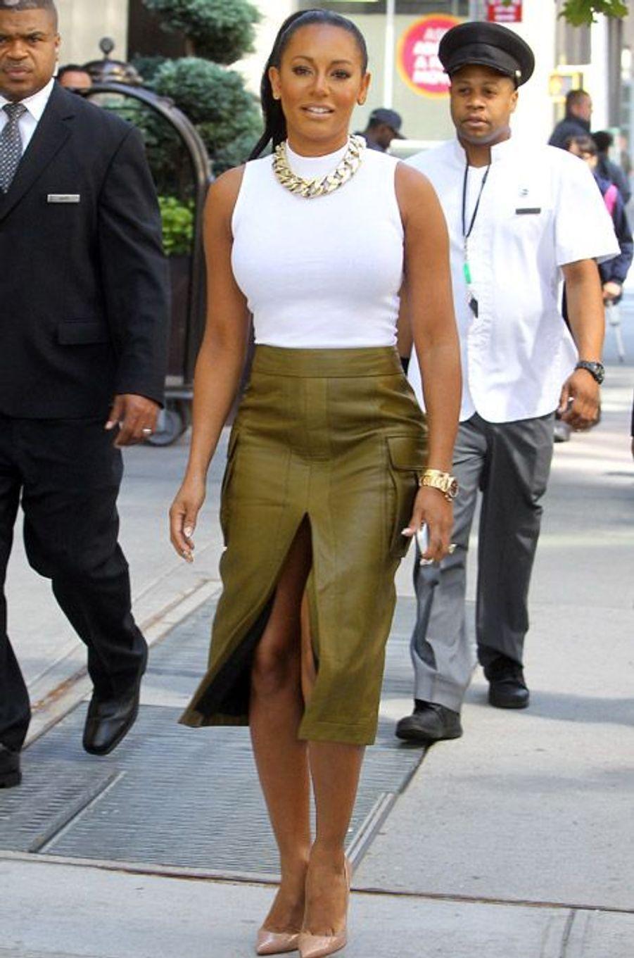 """L'ancienne Spice Girl, Mel B, se rend sur le plateau de l'émission """"America's Got Talent"""" à New York, le 10 septembre 2014"""