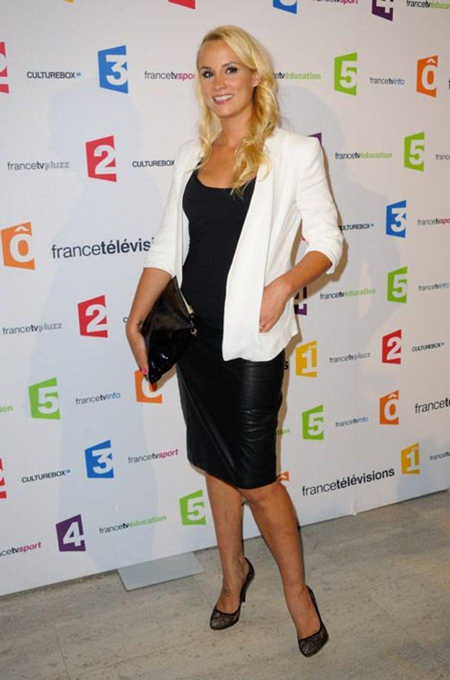L'ex-Miss France lors de la conférence de rentrée de France Télévisions à Paris, le 26 août 2014