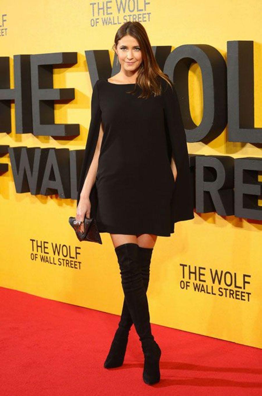 """L'actrice Lisa Snowdon lors de la première du film """"Le Loup de Wall Street"""", à Londres, le 9 janvier 2014"""