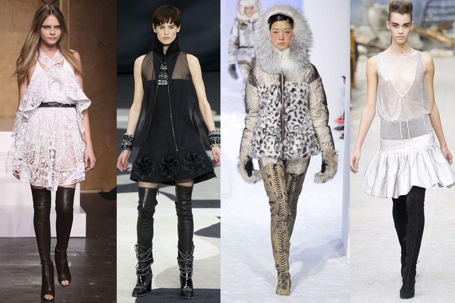 Les cuissardes dans les défilés Givenchy, Moncler Gamme Rouge et Chanel