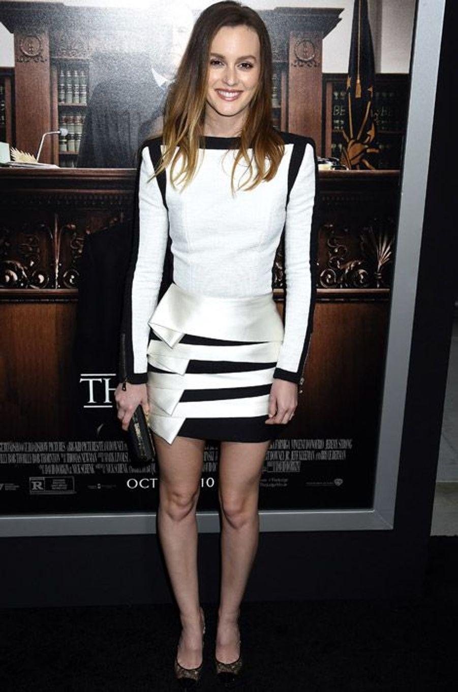 """L'actrice Leighton Meester en Balmain pour la première du film """"The Judge"""" à Los Angeles, le 1er octobre 2014"""
