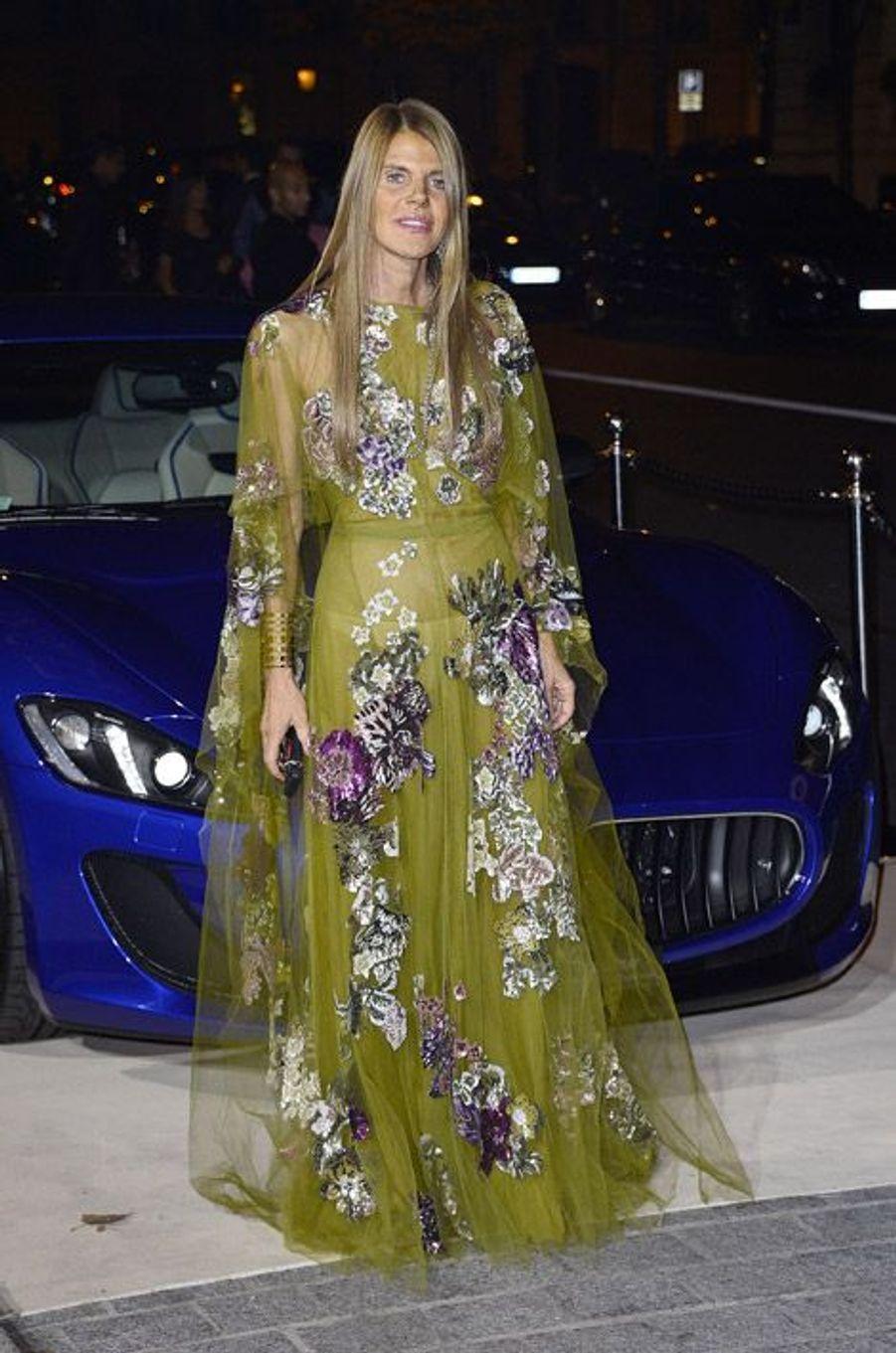 """La rédactrice en chef de """"Vogue Japon"""", Anna Dello Russo lors de la soirée """"CR Fashion Book"""" à Paris, le 30 septembre"""