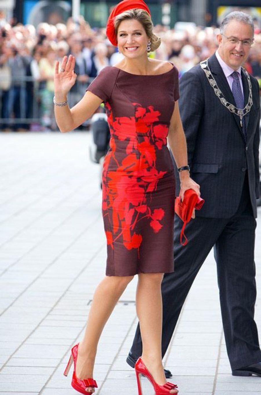 La reine Maxima des Pays-Bas à Rotterdam, le 1er octobre 2014