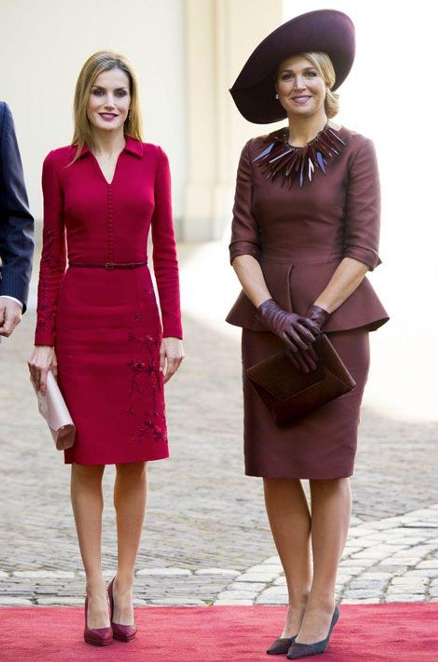 La reine Letizia d'Espagne et la reine Maxima des Pays-Bas, le 15 octobre 2014 à La Haye