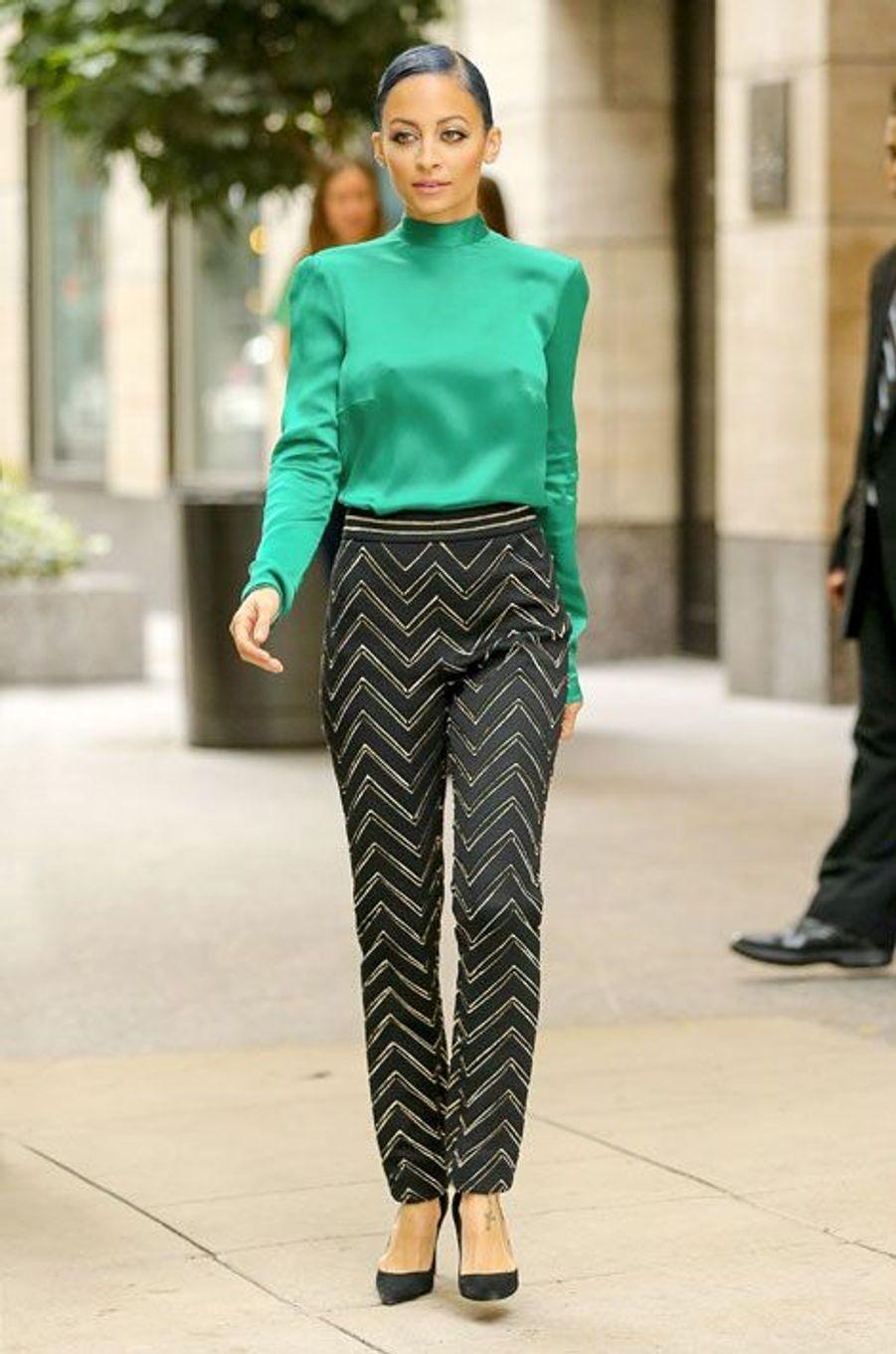 Nicole Richie en Blumarine à New York, le 15 octobre 2014