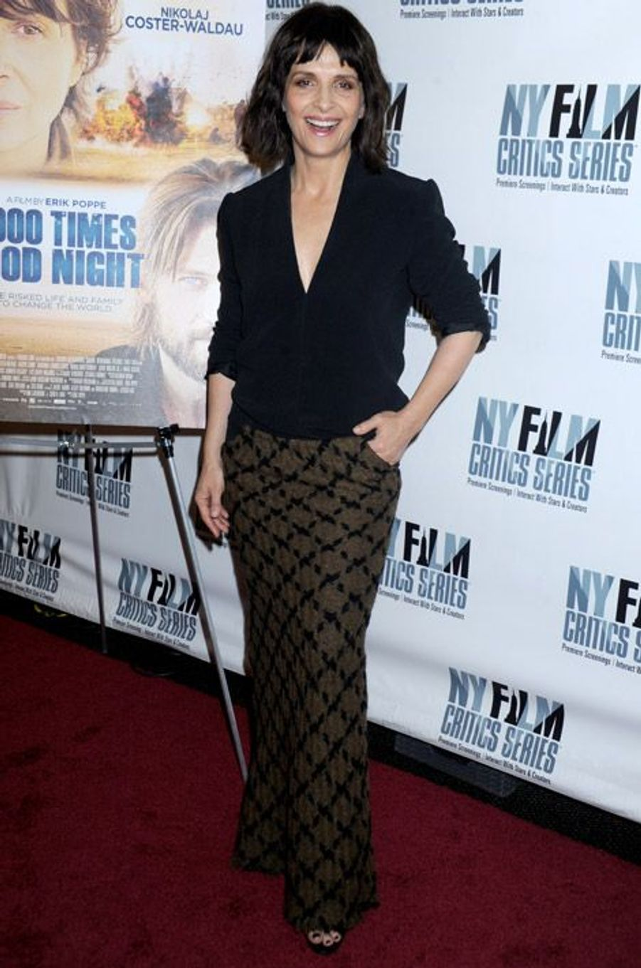 "Juliette Binoche lors de la première du film ""The 1000 Times Good Night"" à New York, le 7 octobre 2014"