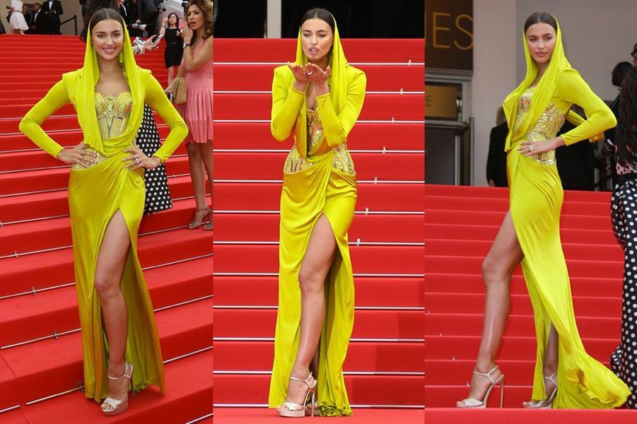 Lunaire en Atelier Versace sur les marches à Cannes, le 21 mai 2014