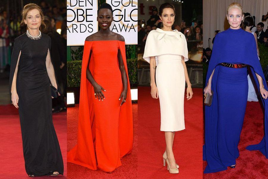 Isabelle Huppert, Lupita Nyong'o, Angelina Jolie, Cameron Diaz : le stars folles de la robe cape