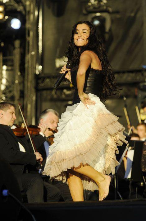 Pendant un concert au Champs de Mars à Paris, le 14 juillet 2008
