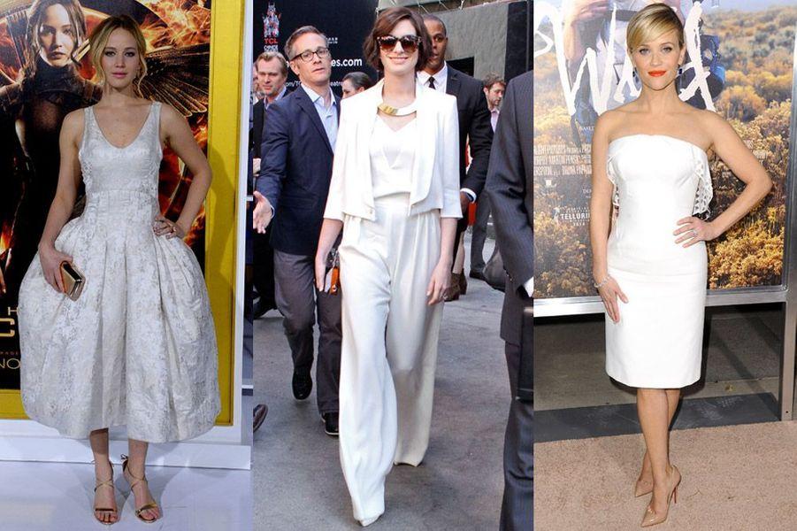 Jennifer Lawrence, Anne Hathaway, Reese Witherspoon : les plus beaux looks de la semaine des stars en blanc