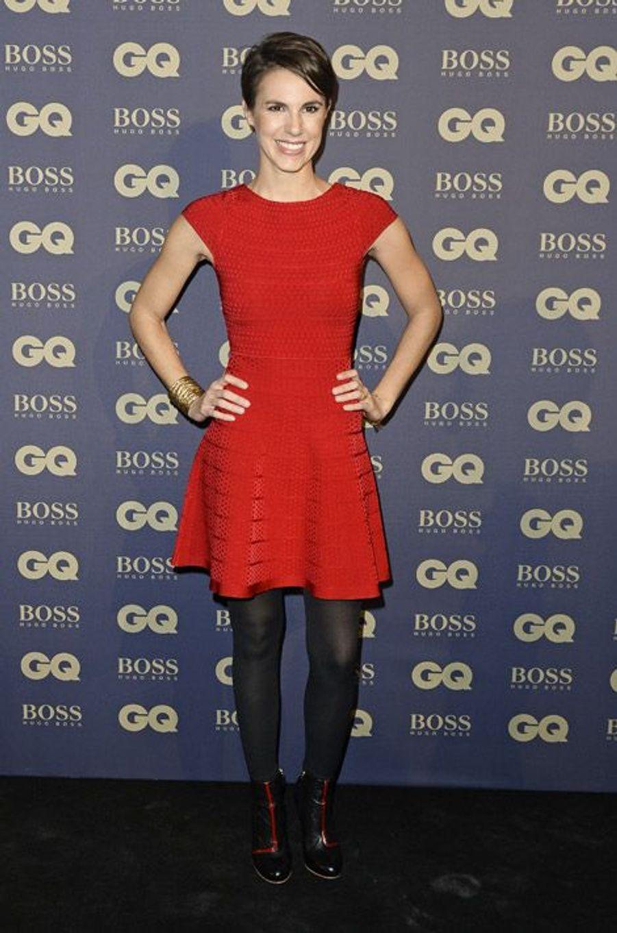 """La journaliste Emilie Besse à la soirée Homme de l'année 2014 organisée par le magazine """"GQ"""" à Paris, le 19 novembre 2014"""