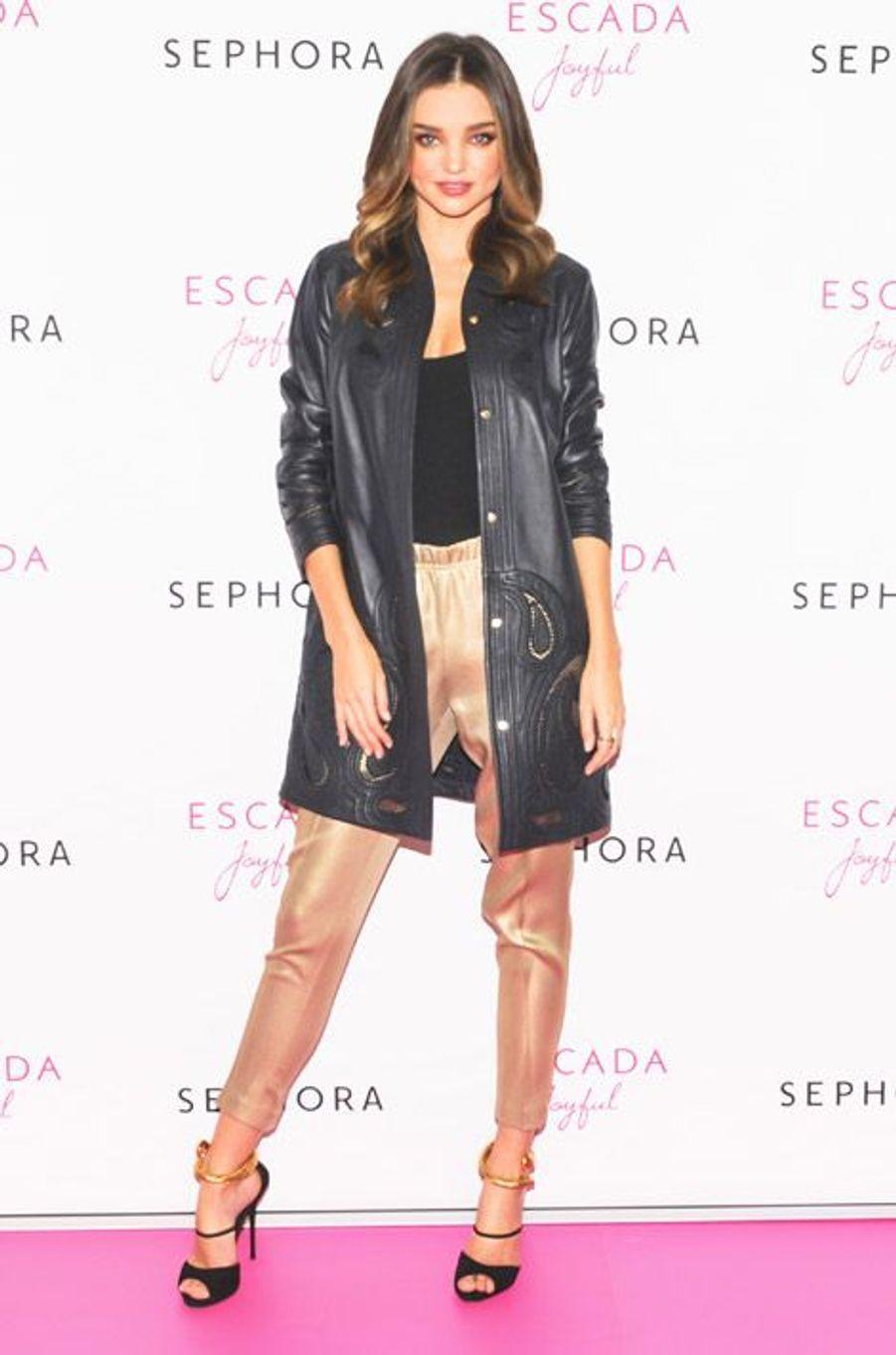 Le mannequin australien Miranda Kerr lors d'un événement à New York, le 20 novembre 2014