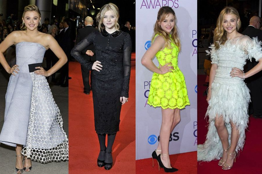 Chloë Grace Moretz, 17 ans, petite-amie de Brooklyn Beckham, vêtue par Dior, Simone Rocha ou Chanel Couture