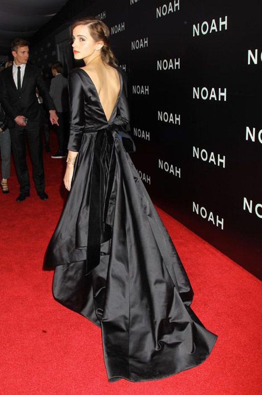 """L'actrice britannique Emma Watson lors de la première du film """"Noah"""" à New York, le 26 mars 2014"""