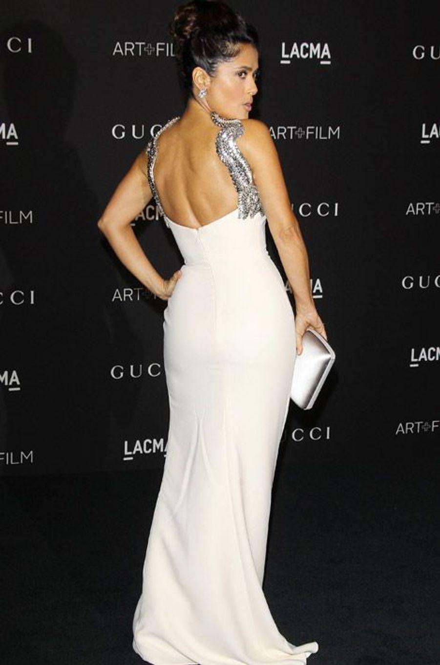 L'actrice Salma Hayek en Gucci lors d'un gala à Los Angeles, le 1er novembre 2014