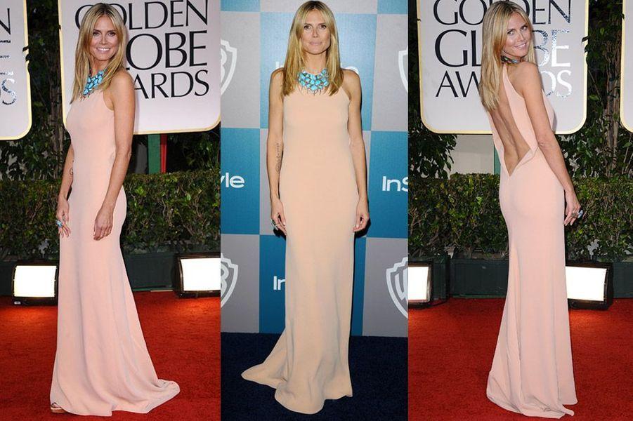 Le top-modèle Heidi Klum, en Calvin Klein, participe à la soirée suivant la cérémonie des Golden Globes, à Los Angeles, le 15 janvier 2012