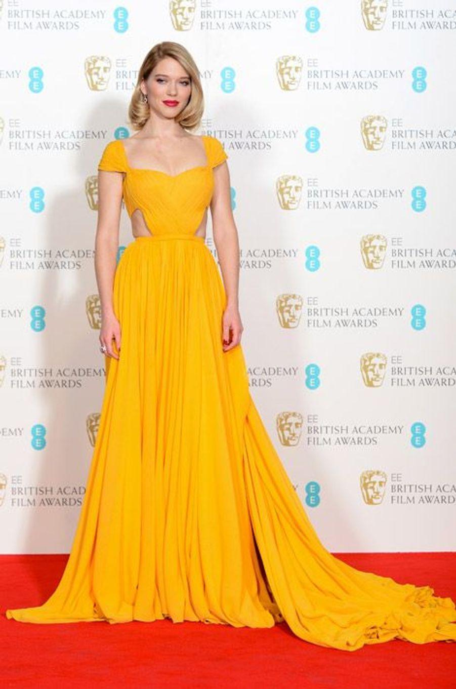 L'actrice Léa Seydoux en Prada lors de la cérémonie des BAFTA le 8 février 2015