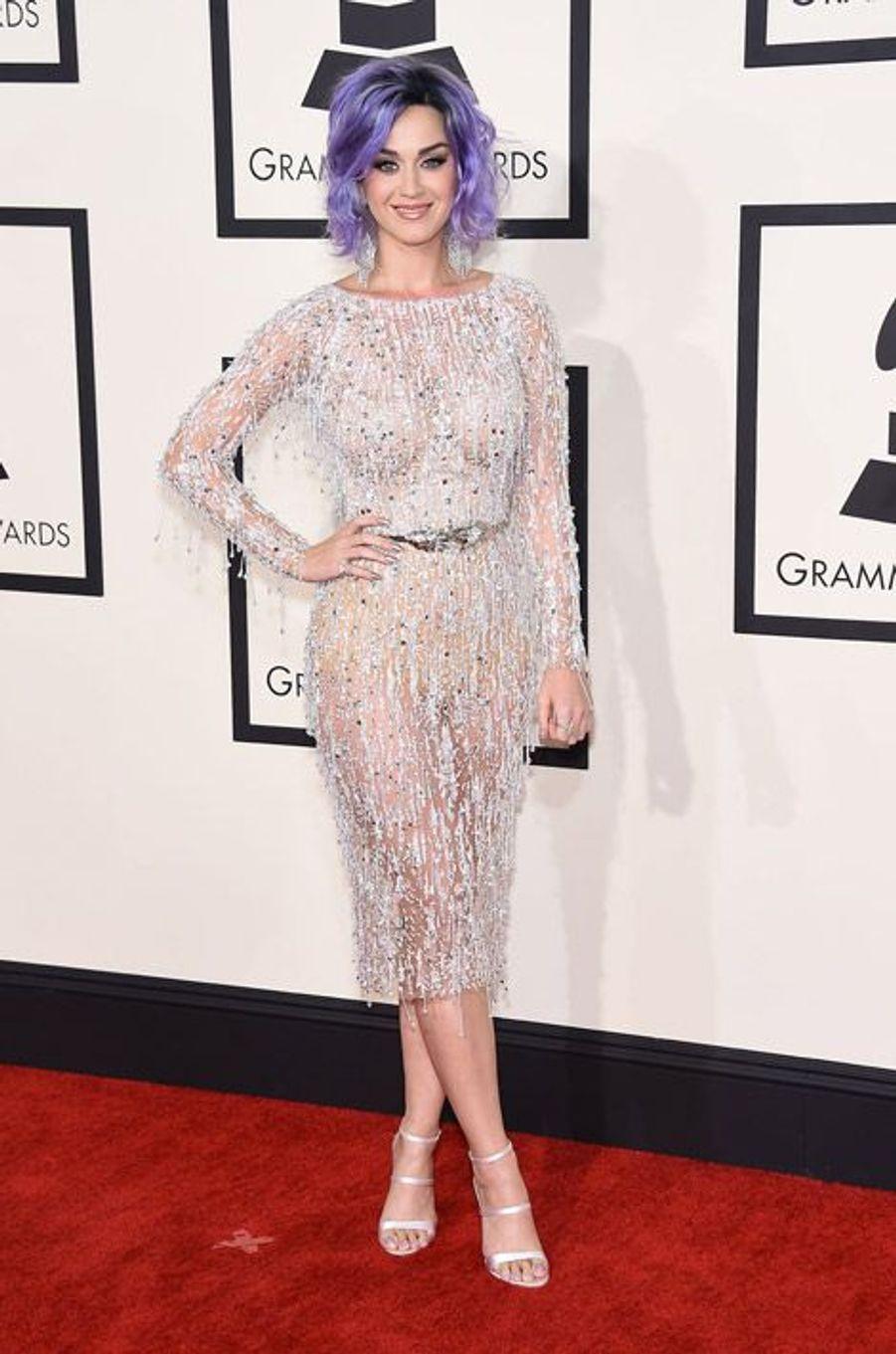 La chanteuse Katy Perry en Zuhair Murad lors de la cérémonie des Grammy Awards à Los Angeles, le 8 février 2015