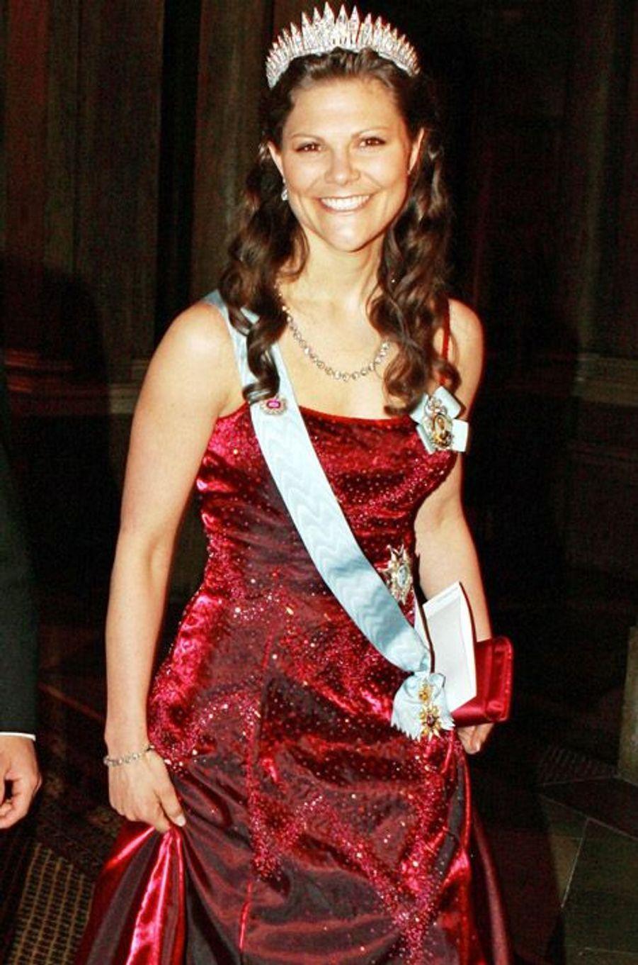 La princesse Victoria de Suède lors du banquet organisé pour les lauréats du prix Nobel en 2006