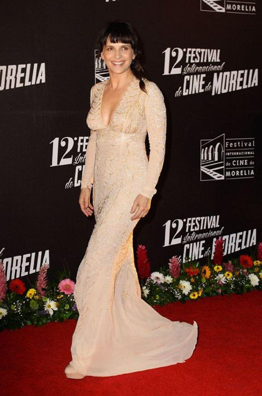 Juliette Binoche, 50 ans, lors du festival du film international de Morelia au Mexique, le 20 octobre 2014