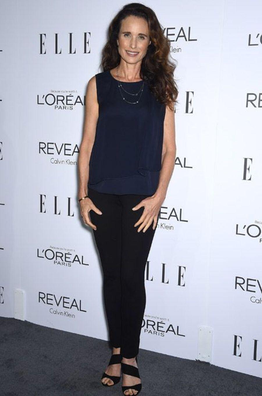 L'actrice Andie MacDowell, 56 ans, pour une soirée à Beverly Hills, le 20 octobre 2014