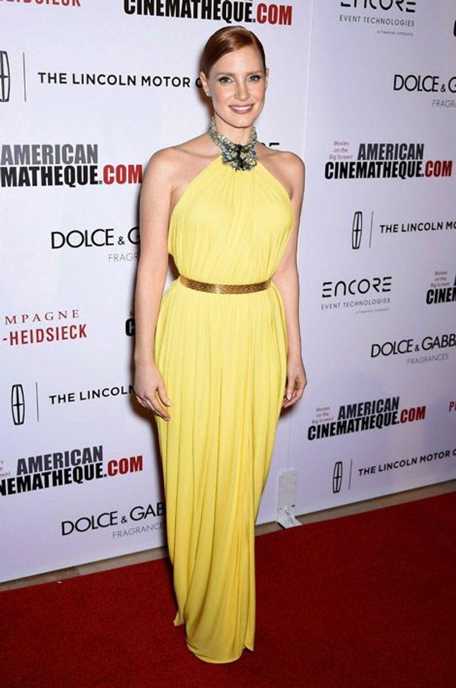 L'actrice Jessica Chastain, 37 ans, en Givenchy Couture lors des American Cinematheque Award en l'honneur de Matthew McConaughey