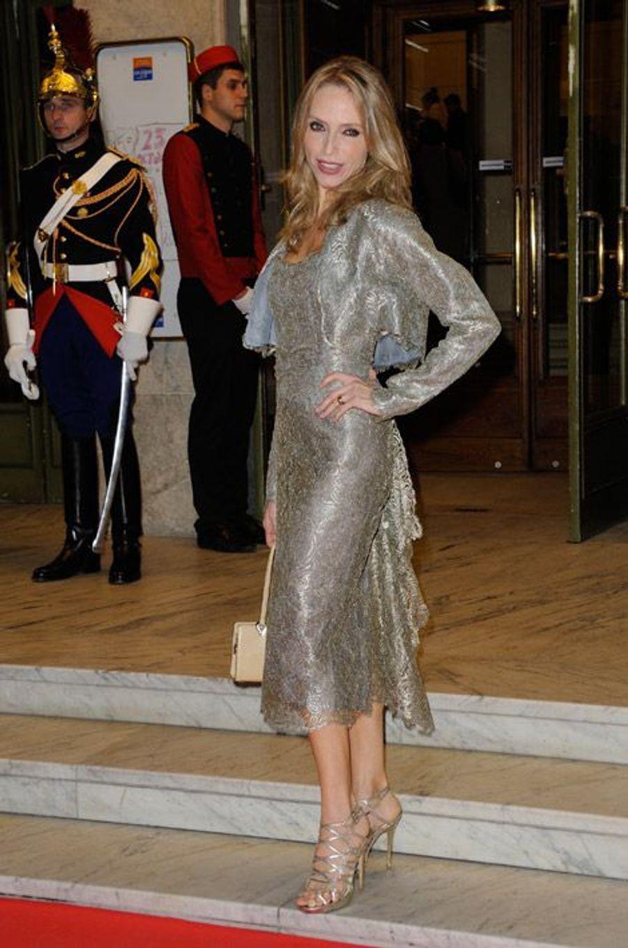 Tonya Kinzinger, favorite de Danse avec les stars 5, 46 ans, lors du Gala de l'espoir pour la lutte contre le cancer à Paris, le 23 octobre 2014