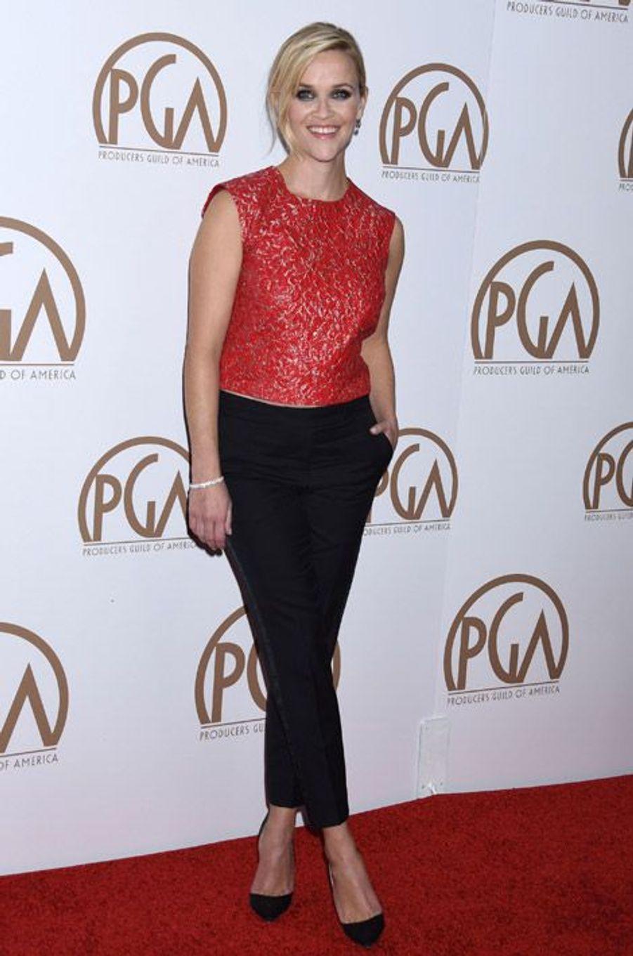L'actrice Reese Witherspoon en Giambattista Valli lors de la cérémonie des Producers Guild Awards à Los Angeles, le 24 janvier 2015