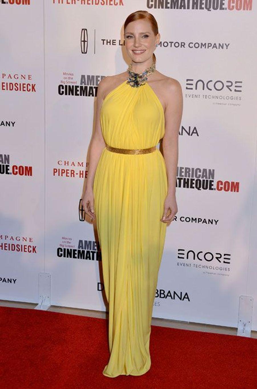 L'actrice américaine Jessica Chastain lors de la soirée American Cinematheque awards, en Californie le 21 octobre 2014