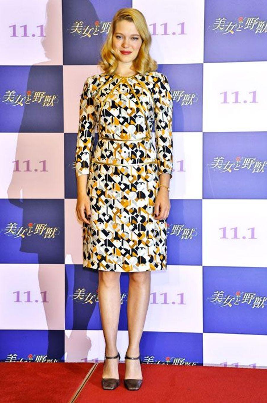 """Léa Seydoux présente le film """"La Belle et la bête"""", au Japon, le 4 septembre 2014"""