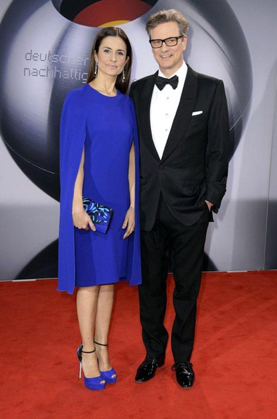 L'acteur Colin Firth et sa femme, Livia à Düsseldorf, en Allemagne, 28 novembre 2014