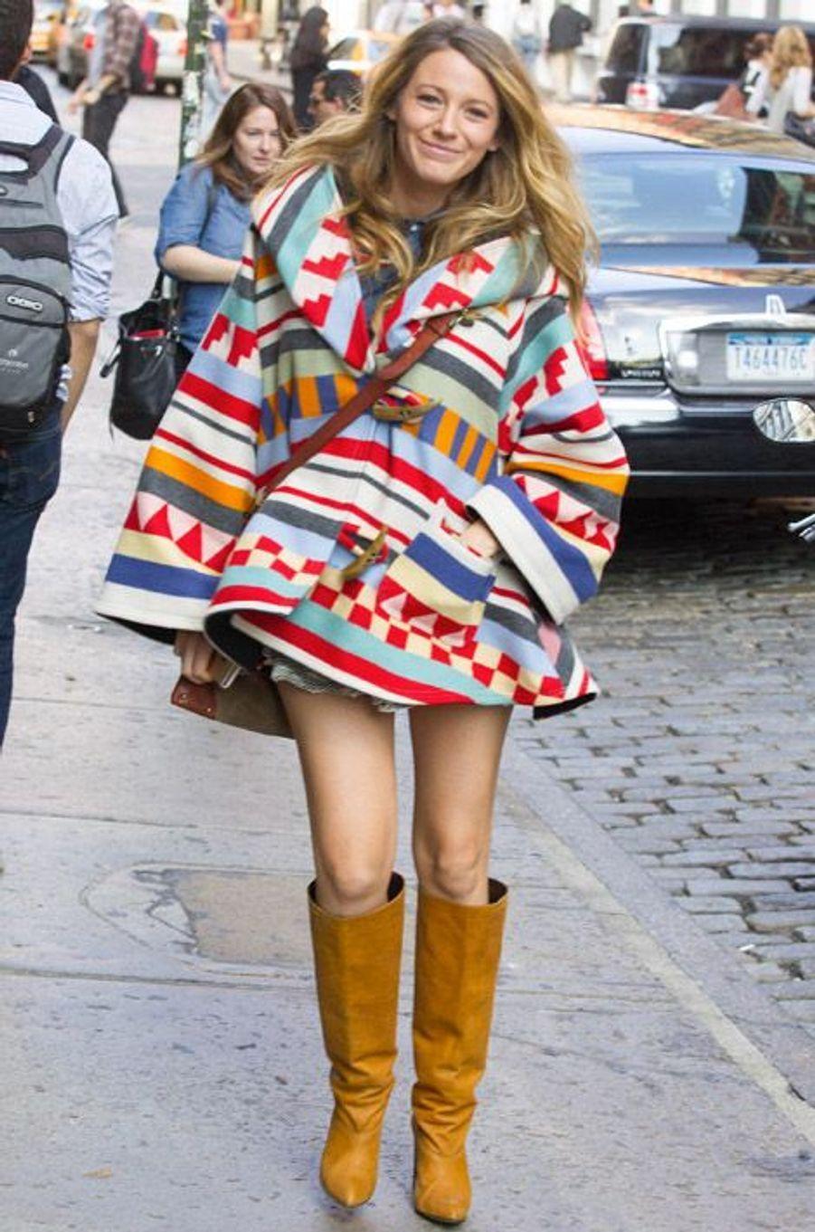 L'actrice Blake Lively enceinte, à New York, le 17 octobre 2014