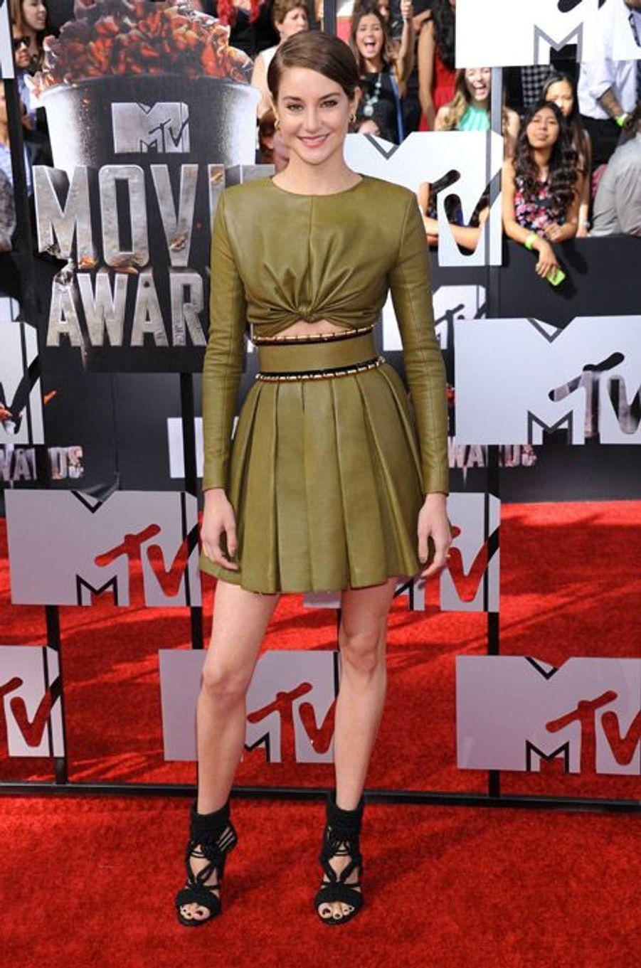 L'actrice Shailene Woodley en Balmain pour les MTV Movie Awards 2014 à Los Angeles, le 13 avril 2014