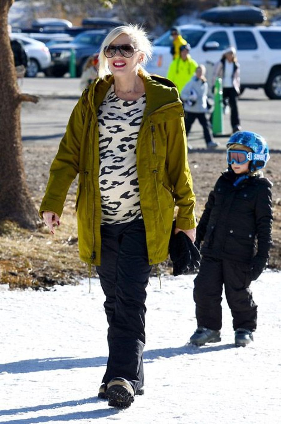 La chanteuse Gwen Stefani en vacances au ski aux Etats-Unis, le 1er janvier 2014