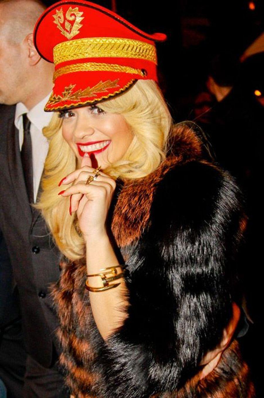 La chanteuse Rita Ora lors d'une soirée à Moscou, le 27 octobre 2014