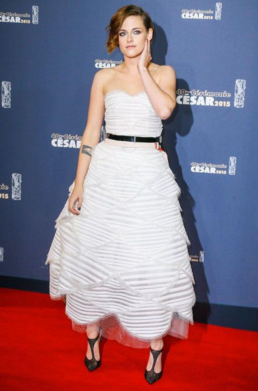 Kristen Stewart en Chanel lors de la cérémonie des César à Paris, le 20 février 2015