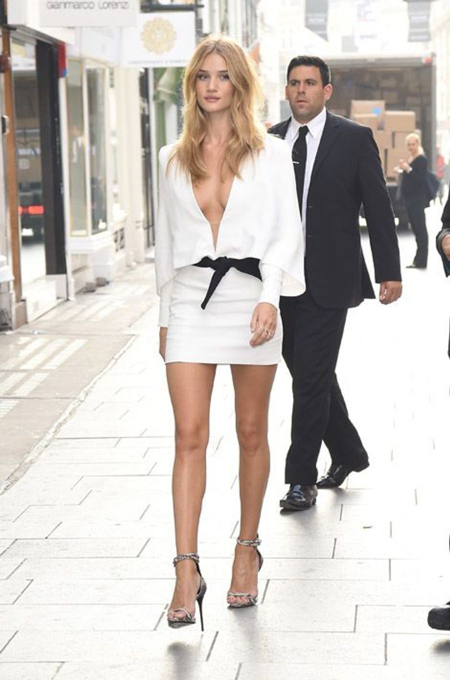 Le mannequin Rosie Huntington-Whitely à Londres, le 19 septembre 2014