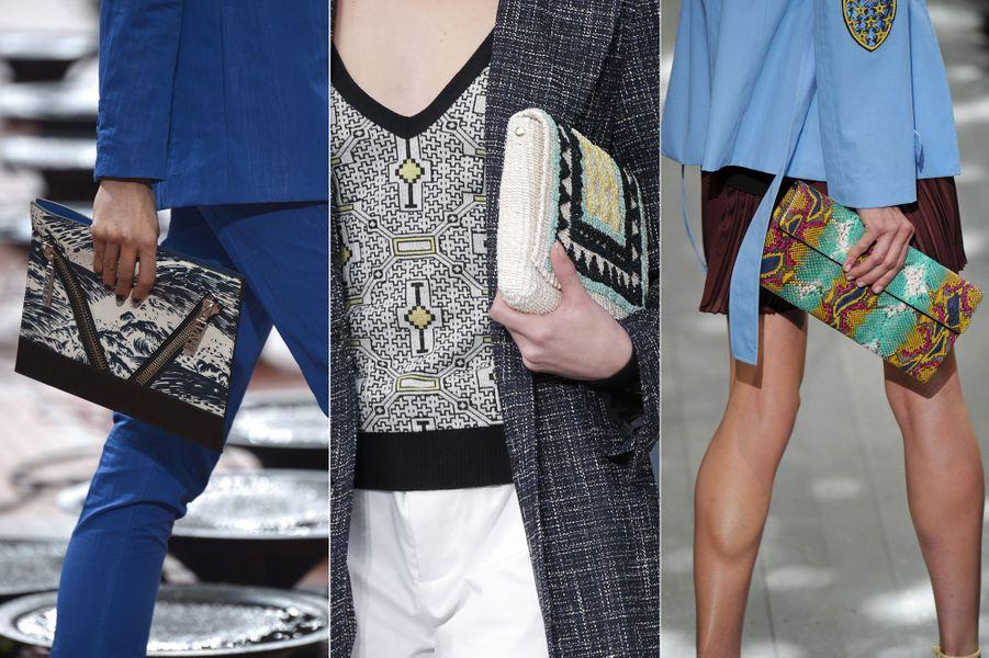 La Fashion Week prêt-à-porter s'est terminée le 2 octobre dernier à Paris. Si l'hiver approche à grands pas, les créateurs ont déjà imaginé les tenues à la mode l'été prochain. En plus des robes fleuries, shorts et autres jupettes fluides, ils ont fait une grande place aux accessoires. Les pièces indispensables: pochettes imprimés, sacs à franges ou encore lunettes de soleil rondes.Ici, des modèles issus des collections Agnès B, Dior et Kenzo