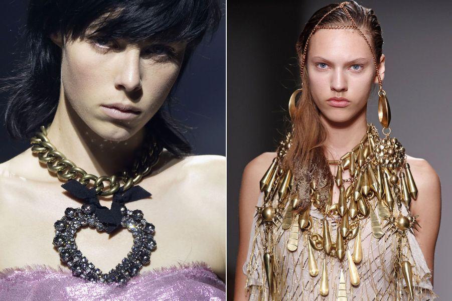 Les bijouxoversize de LanvinetA.F. Vandevorst.