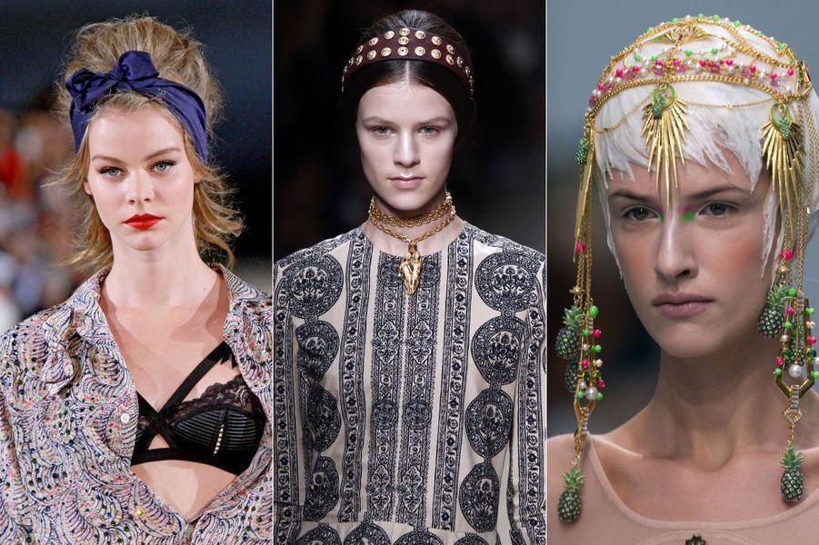 La tête jamais nue chezAlexis Mabille,Valentino etManish Arora.