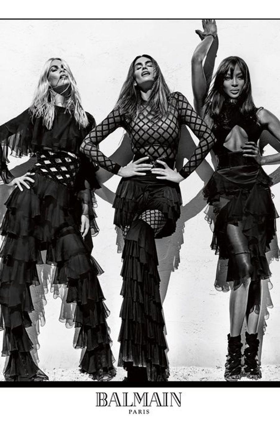 Naomi, Cindy et Claudia posent pour Balmain