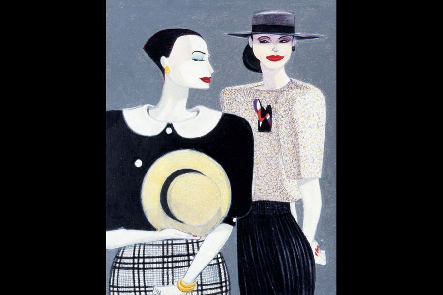 C'est pour cela qu'il faut se plonger dans ses dessins. Ils restituent l'essence de chaque créateur de mode, de Chanel à Versace, de Coveri à Romeo Gigli, d'Armani à Jil Sander… «Les plus amusants à dessiner ce sont les créateurs extrêmes, comme Jean-Paul Gaultier ou Vivienne Westwood». Des silhouettes étirées, exacerbées, épaules carrées des années wonderwoman, ou gestes maniérés des Italiennes théâtrales. Il sait tout capter. Mais surtout, il sait glisser l'expression ironique dans le regard, le geste fashion, ou la candeur, la bouderie, la rêverie, l'artifice.