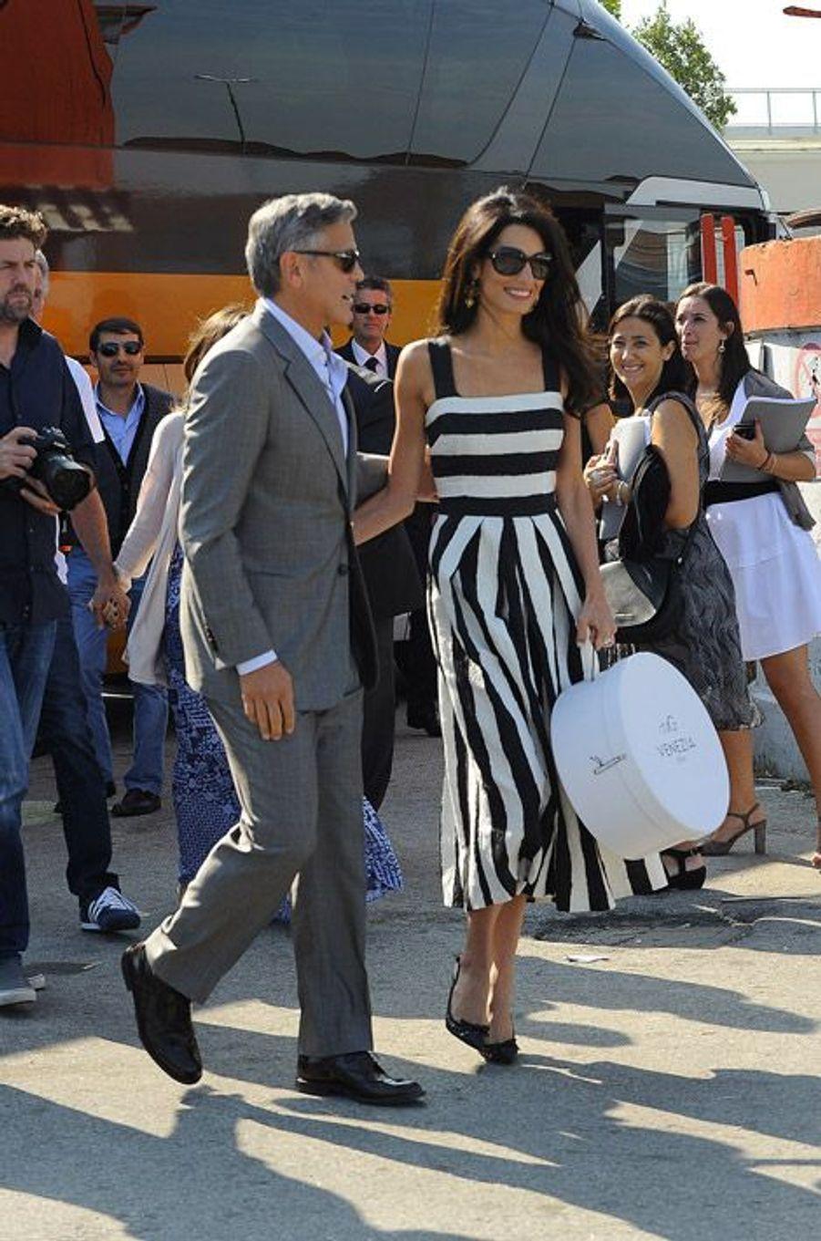 Amal Alamuddin et George Clooney arrivent à venise pour lur mariage, le 26 septembre 2014