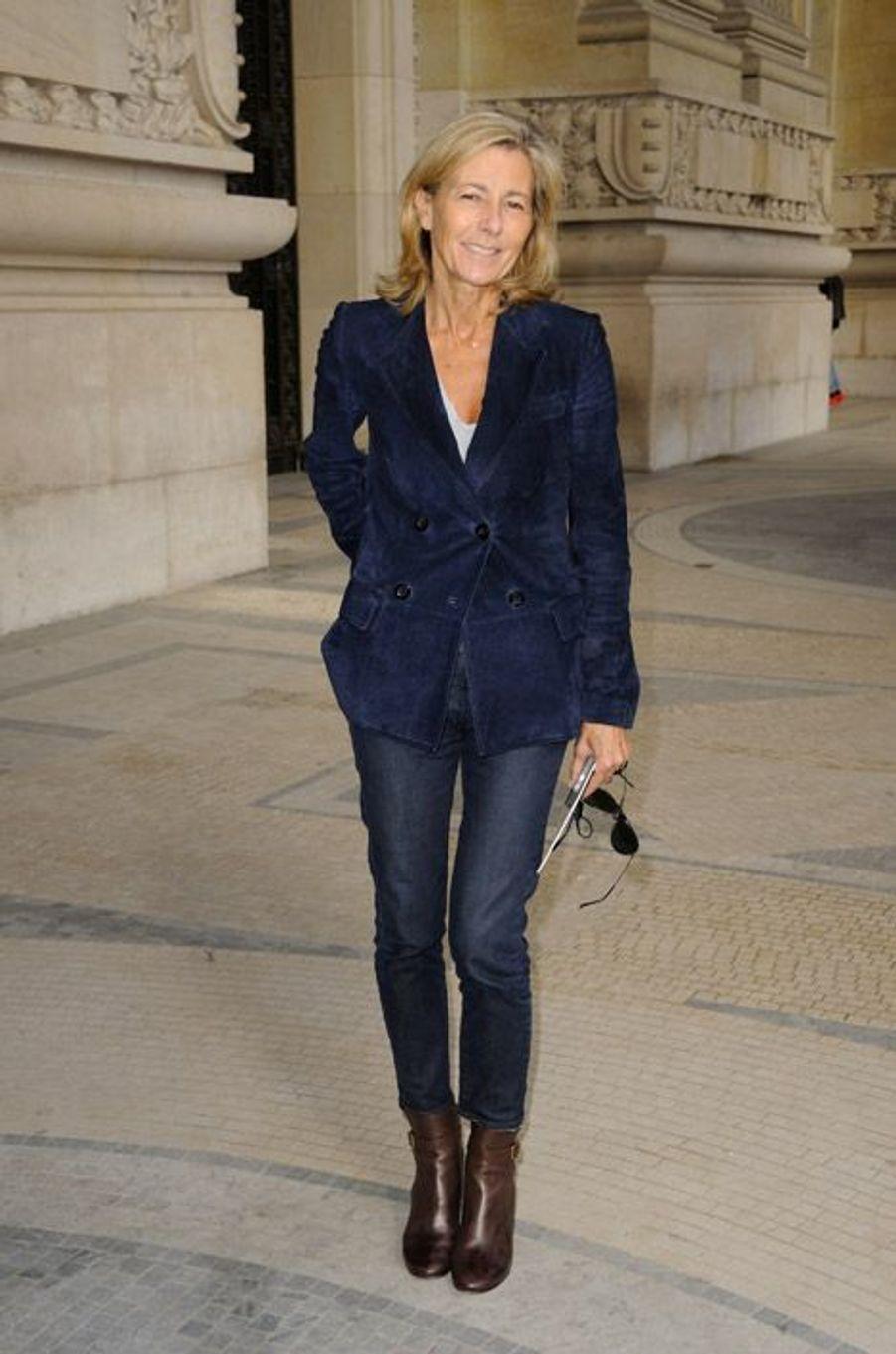 Claire Chazal au défilé printemps-été 2015 Carven, au Grand Palais à Paris, le 25 septembre 2014