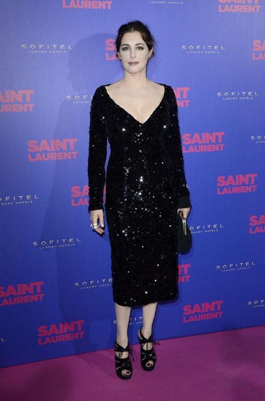 """L'actrice Amira Casar à l'avant-première du fim """"Yves Saint Laurent"""", au Centre Pompidou à Paris, le 23 septembre 2014"""
