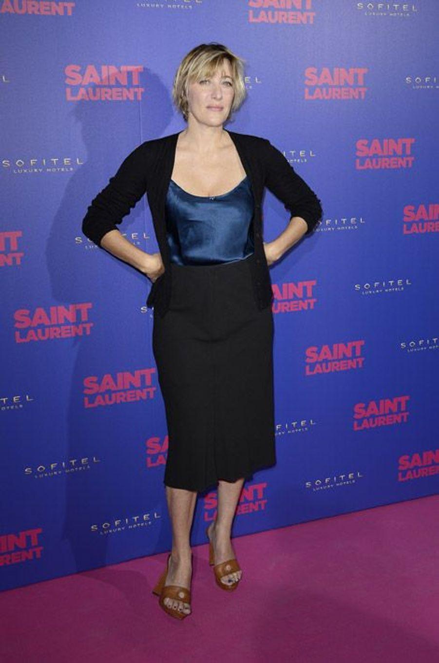"""L'actrice Valeria Bruni Tedeschi, à l'avant-première du fim """"Yves Saint Laurent"""", au Centre Pompidou à Paris, le 23 septembre 2014"""