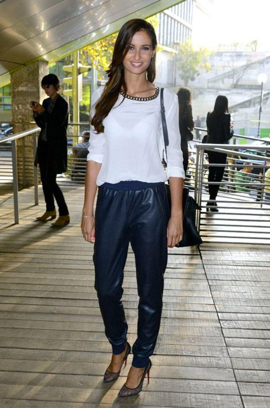 L'ex-Miss France, Malika Ménard, au défilé Anthony Vaccarello printemps-été 2015 à la Cité de la mode et du design à Paris, le 23 septembre...