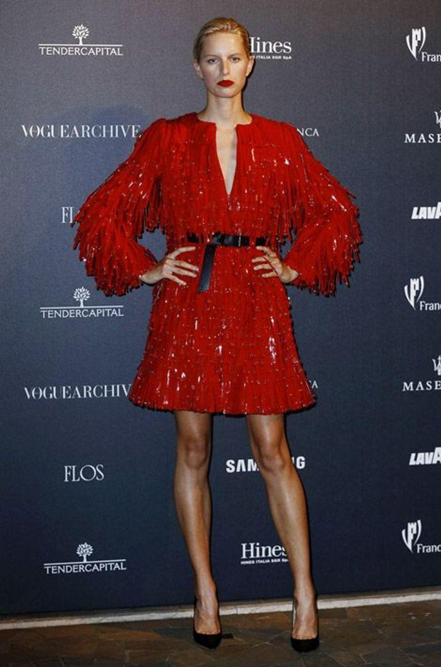 """Le mannequin tchèque Karolina Kurkova fête les 50 ans de """"Vogue Italie"""", le 21 septembre 2014"""