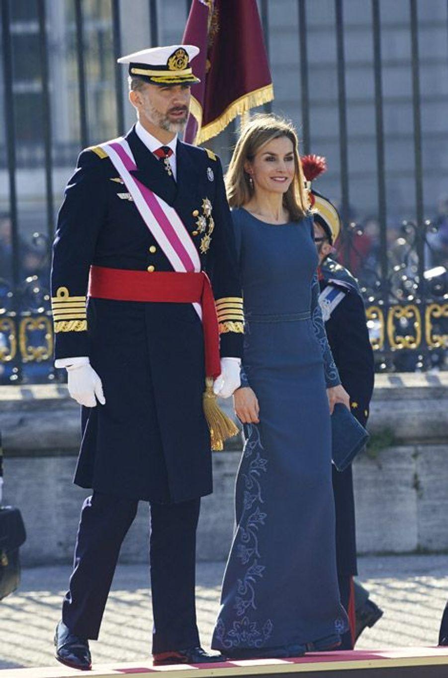 La reine Letizia lors des voeux aux militaires, à Madrid, le 6 janvier 2015
